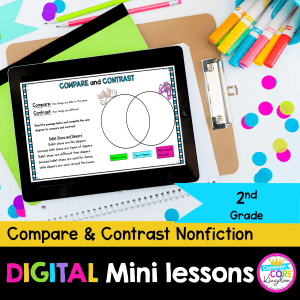 RI.2.9 Compare and Contrast Nonfiction Digital Mini Lesson Cover showing use of digital resource in Google slides on iPad