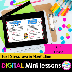 RI.4.5 Text structure in nonfiction digital mini lesson cover showing use of digital resource in Google Slides on an iPad