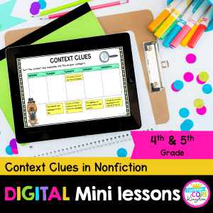 Context Clues in Nonfiction 4th and 5th grade digital mini lessons cover showing digital resources in Google slides