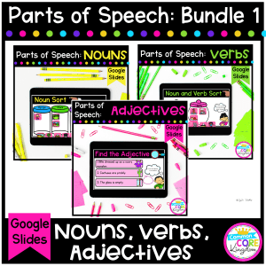 Parts of Speech Bundle Cover for 2nd & 3rd Grade - showing covers for individual products of nouns, verbs, and adjectives