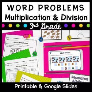 Word Problems Multiplication and Division cover for 3rd grade showing printable and digital math worksheets