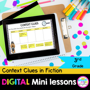 Context Clues in literature for 3rd grade digital mini lessons cover showing google slide teaching resources