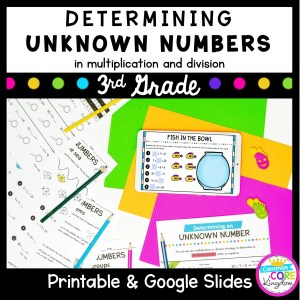Determine Unknown Numbers Unit for Google Slides Distance Learning 3.OA.A.4