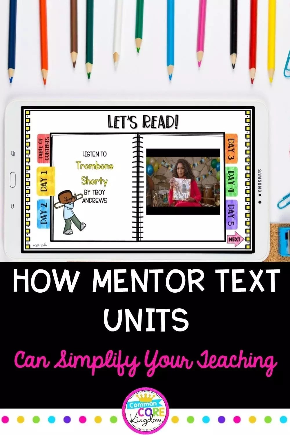 Using mentor texts units for teaching blog post cover showing book units