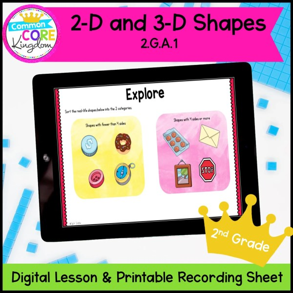 2D and3D Digital Mini Lesson for 2nd Grade Math