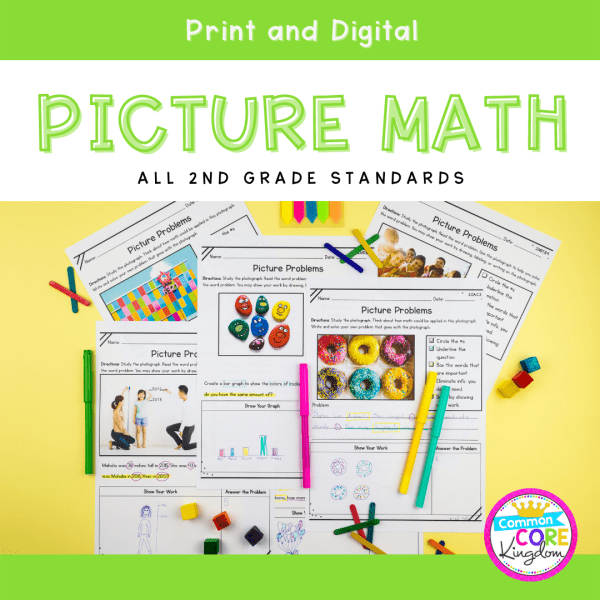 2nd Grade Math Picture Problems in Google Slides & Printable Format