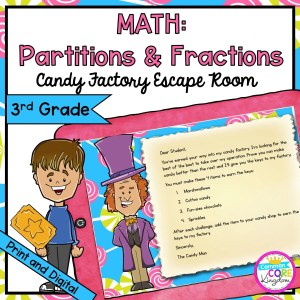 Partitions and Fractions Geometry Escape Room for 3rd Grade in Google Slides & Printable Format