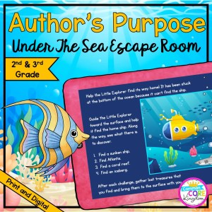 """Author's Purpose """"Under the Sea"""" Escape Room for 2nd & 3rd Grade in Digital & Printable Format"""