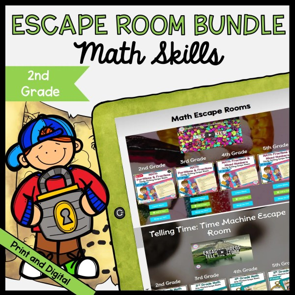 Math Escape Room GROWING Bundle - 2nd Grade - Printable & Digital
