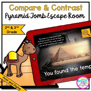Compare & Contrast - Pyramid Tomb Escape Room for 2nd & 3rd Grade in Digital & Printable Format