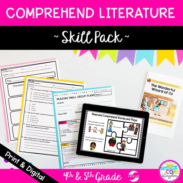 Skill Pack: Comprehend Literature - 4th & 5th Grade | RL.4.10 RL.5.10 Classroom & Distance Learning