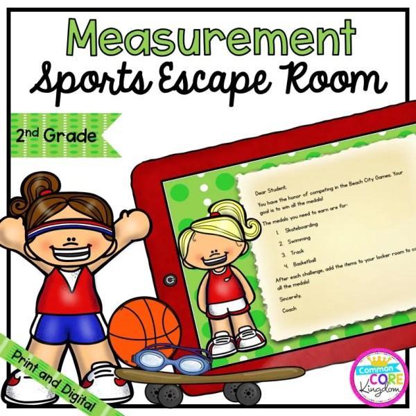 Measurement Summer Sports Escape Room - 2nd Grade Math - Digital & Printable