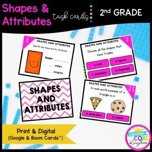 Shapes & Attributes - 2nd Grade Math Task Cards - Print, Slides, & Boom Formats