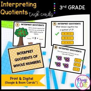 Interpreting Quotients - 3rd Grade Math Task Cards - 3.OA.A.2