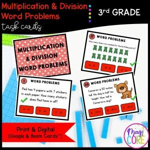 Multiplication & Division Word Problems - 3rd Math Task Cards - Print & Digital