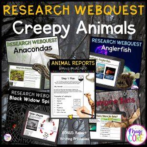 Creepy Animals Digital Research WebQuest BUNDLE - 2nd-5th Grade - Google Slides