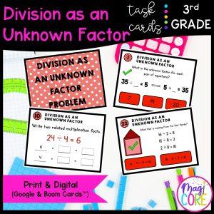 Division as an Unknown Factor - 3rd Math Task Cards - Print & Digital - 3.OA.B.6
