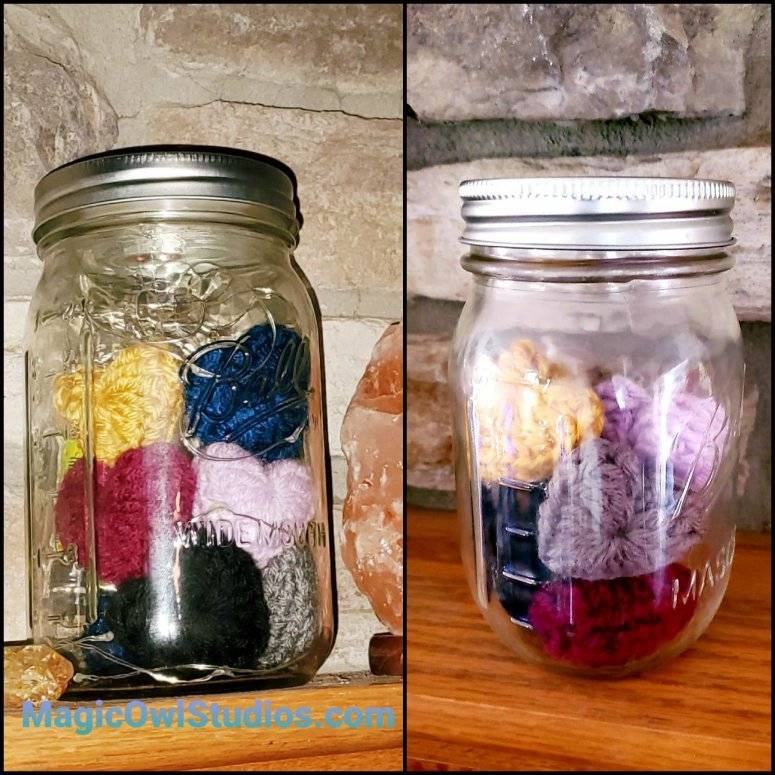 jar of crocheted hearts