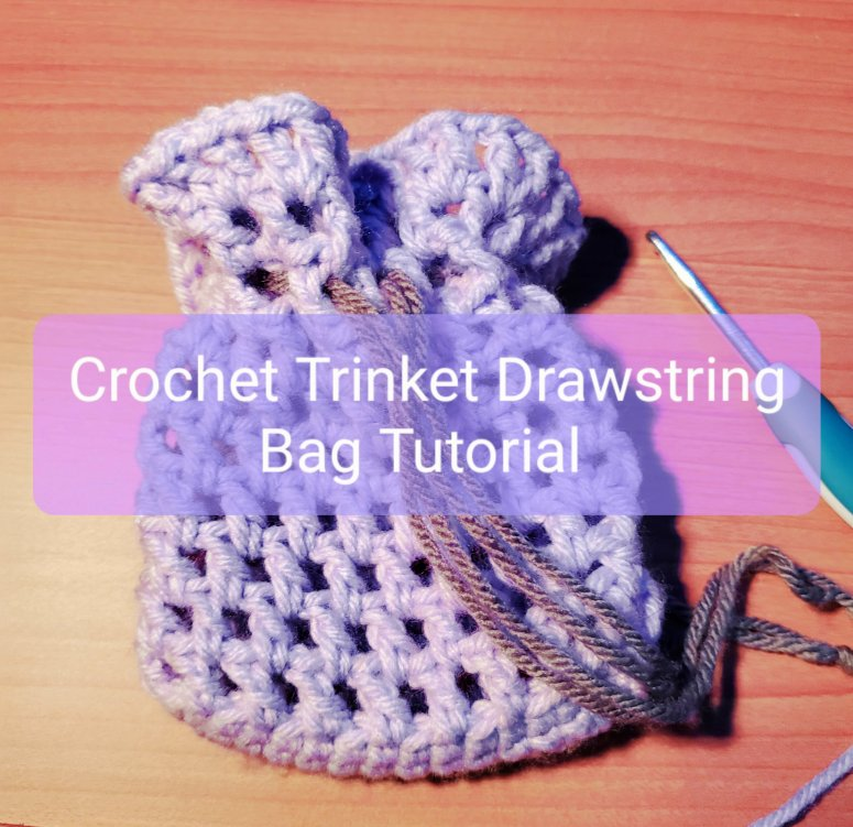 crochet trinket drawstring bag tutorial
