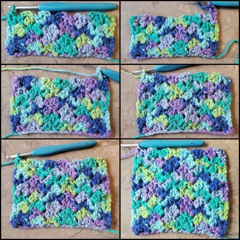 row 3 -8 of the crochet tulip stitch