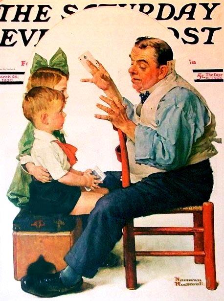 Un magicien en pleine action : couverture du Saturday evening post par Norman Rockwell.