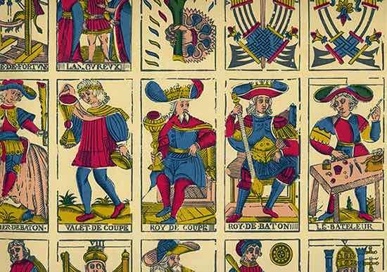 Un extrait d'une des planches du Tarot de Marseille, dans la version de l'Imprimerie Nationale.