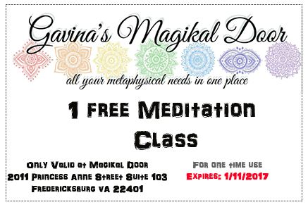Meditation Class Wednesdays at 7:30 PM | Gavina's Magikal Door