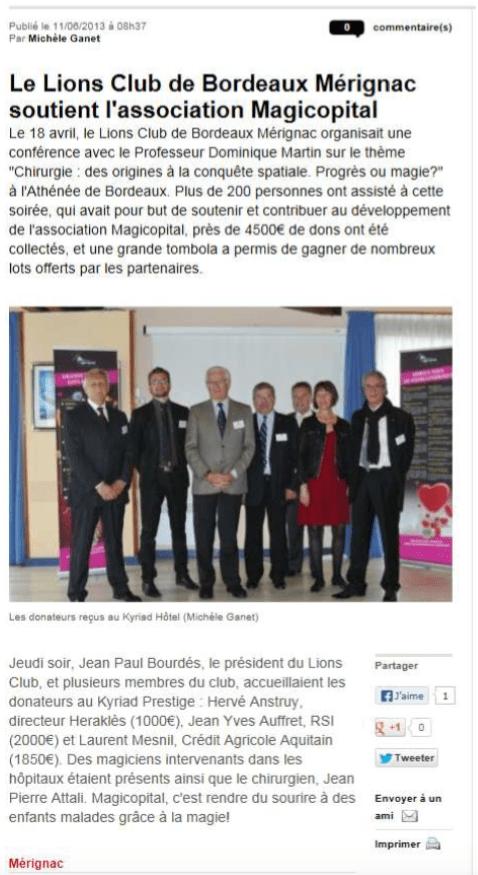 Magikhopital soutient lions club merignac 18 avril 2013
