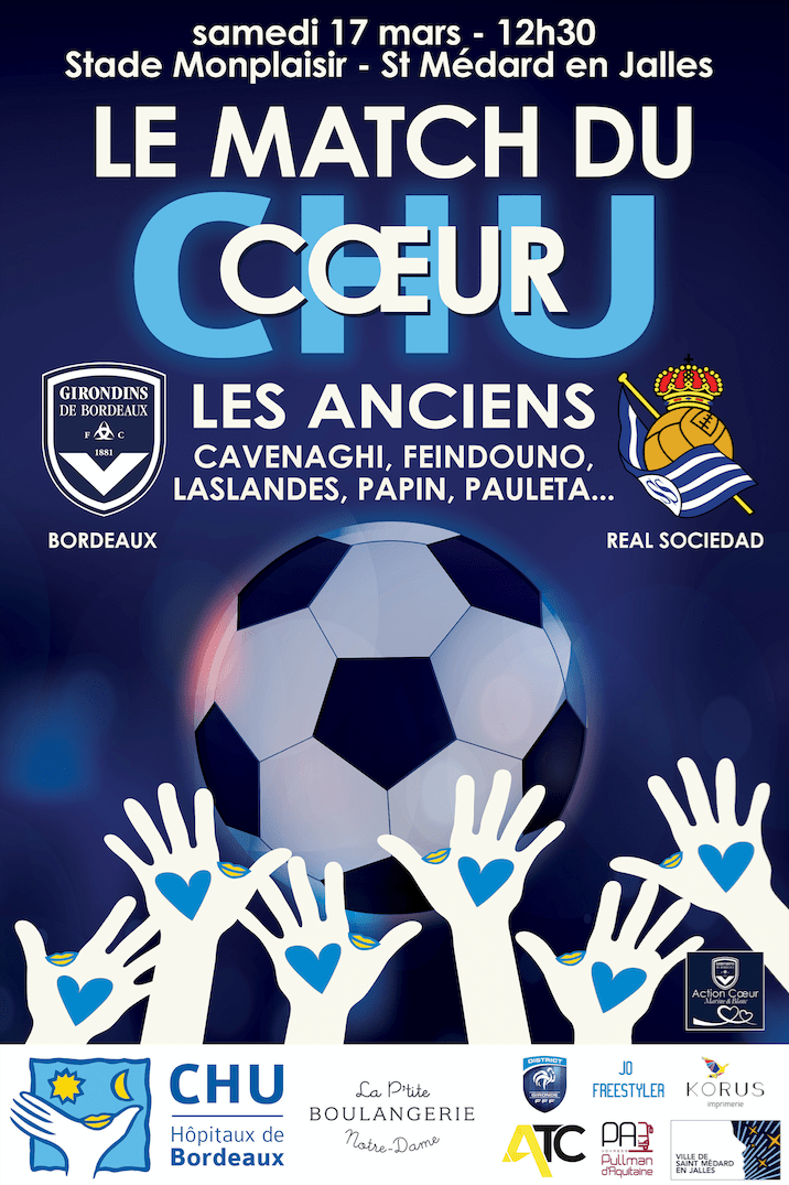 match du coeur FCGB real sociedad solidarite association enfants malades chu bordeaux magik hopital 2