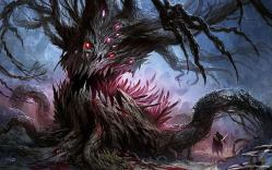 Monstrous tree in the ancient forest.