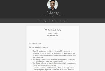 Screenshot of relativity theme on WordPress theme repository