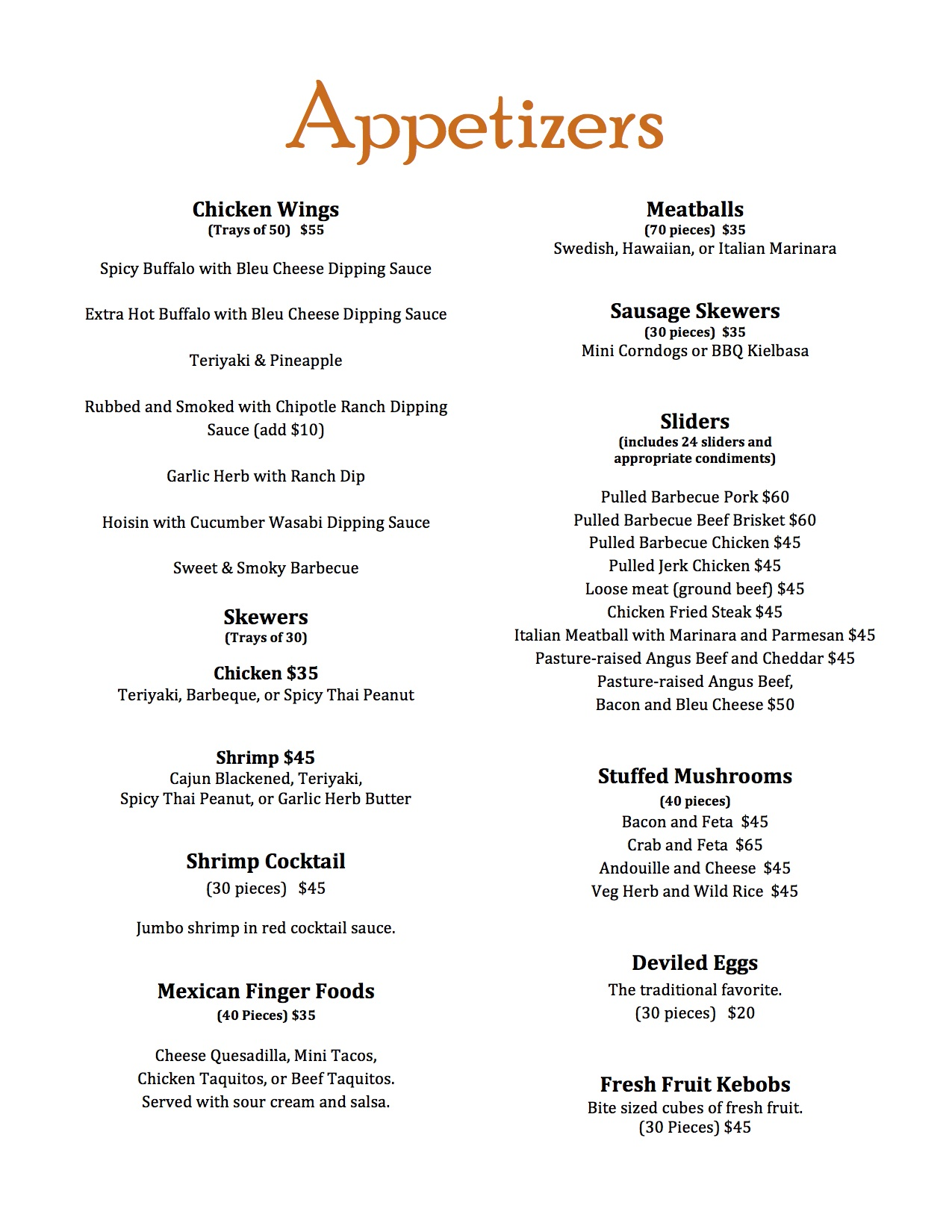 Magills Catering Lunch and Dinner Menu  Magills
