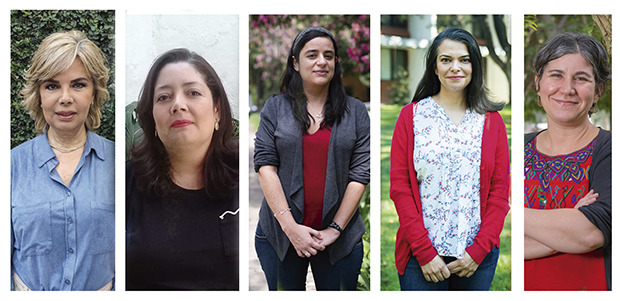 De izq. a der. Carmen Ruiz Velasco, Diana Solangel, Georgina López, Mariana Espeleta y Carmen Díaz
