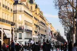 Crowded Champs-Elysees.