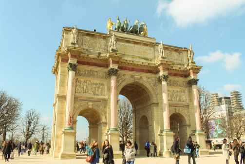 Maybe you haven't known this yet but there are 2 gates at both ends of Champs-Elysees. The Arc de Triomphe you might already know about, this is the another one called Arc de Triomphe du Carrousel, next to the Louvre. Smaller, with horses on top.