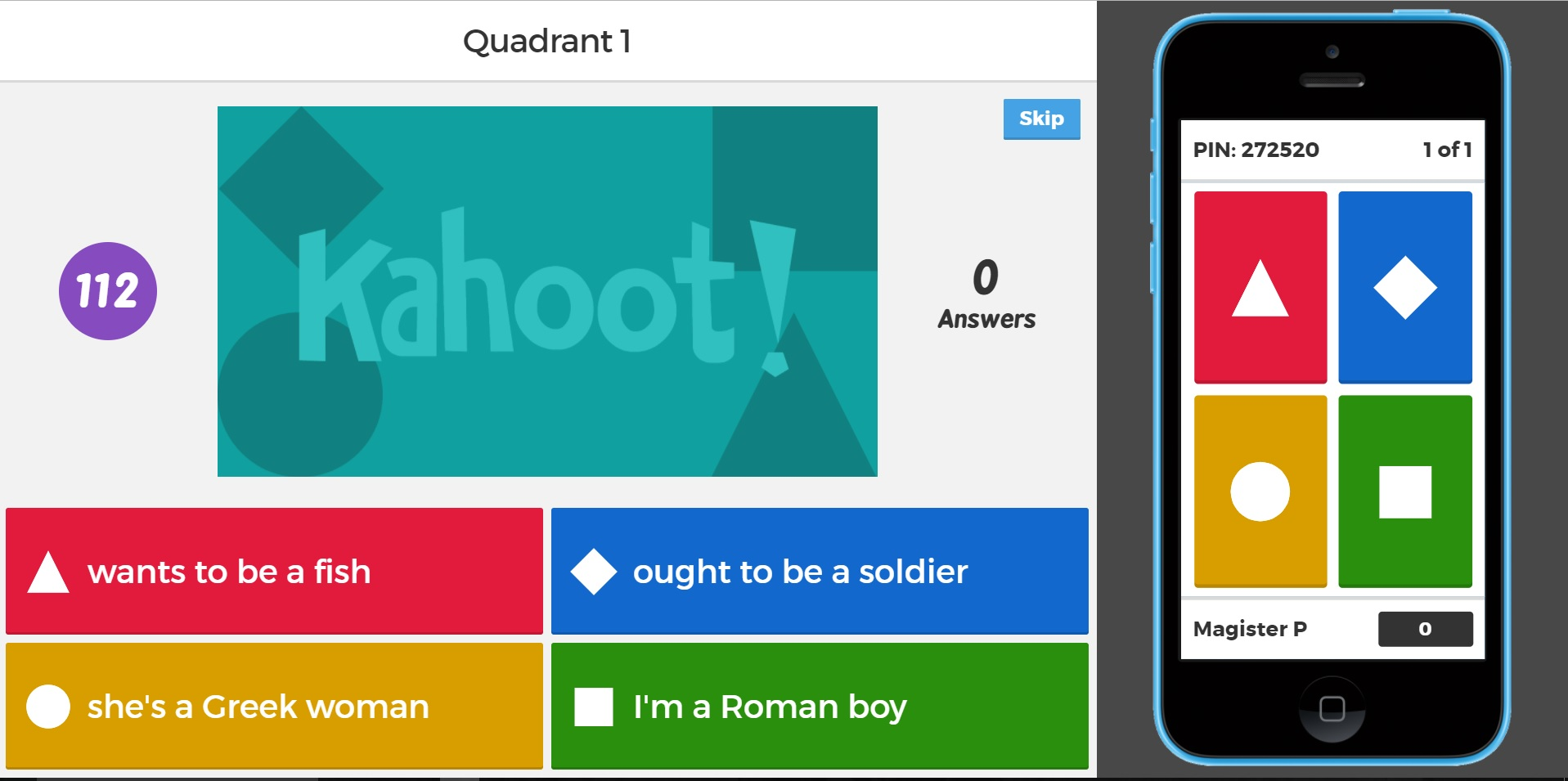 Kahoot Kahoot English Quadrant Word Race Magister P