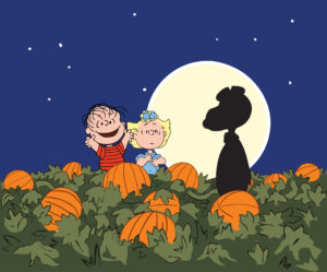 Has Linus been chewing on lead paint? Snoopy looks nothing like a pumpkin.
