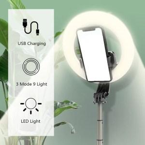 4 en 1 selfie Ring Light LED anneau lumière sans fil Bluetooth Selfie tripied mini trépied support dans la main extensible 3 niveaux lumière selfie avec télécommande