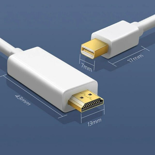 Basix original Câble adaptateur Mini Display port vers HDMI Convertisseur 4K Thunderbolt 2 HDMI pour MacBook Air 13 iMac Chromebook Mini DP vers HDMI Adaptateur