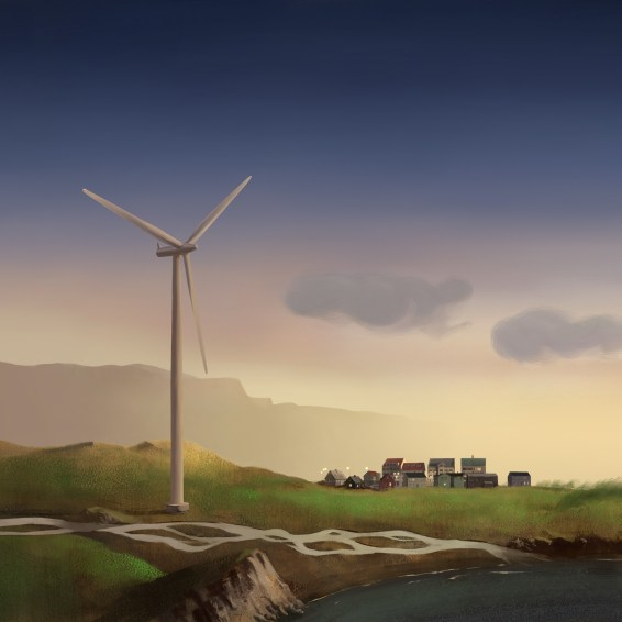 Wind energy illustration for an agency client for a series of billboards promoting green energy. Was also used for an award winning interactive online banner ad.