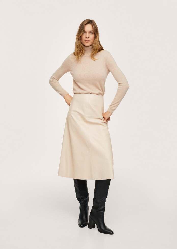 Φούστα μίντι 100% δέρμα - Γενικό πλάνο