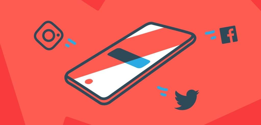 Phone social media animated image Twitter Instagram Facebook Magnet.me