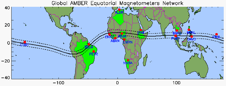 AMBER (African Meridian B-field Education and Research) Magnetometer Network