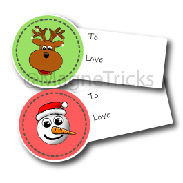 Christmas gift stickers – Reindeer and snowmen