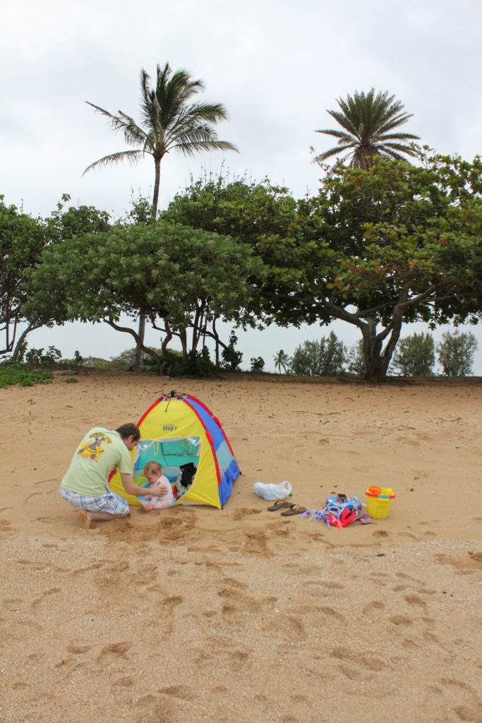 Hawaii with a baby and her sand supplies