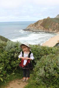HJ with Gray Whale Cove Beach behind her