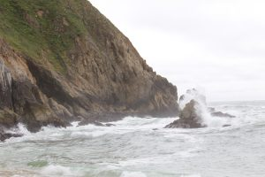 Waves crashing at Gray Whale Cove
