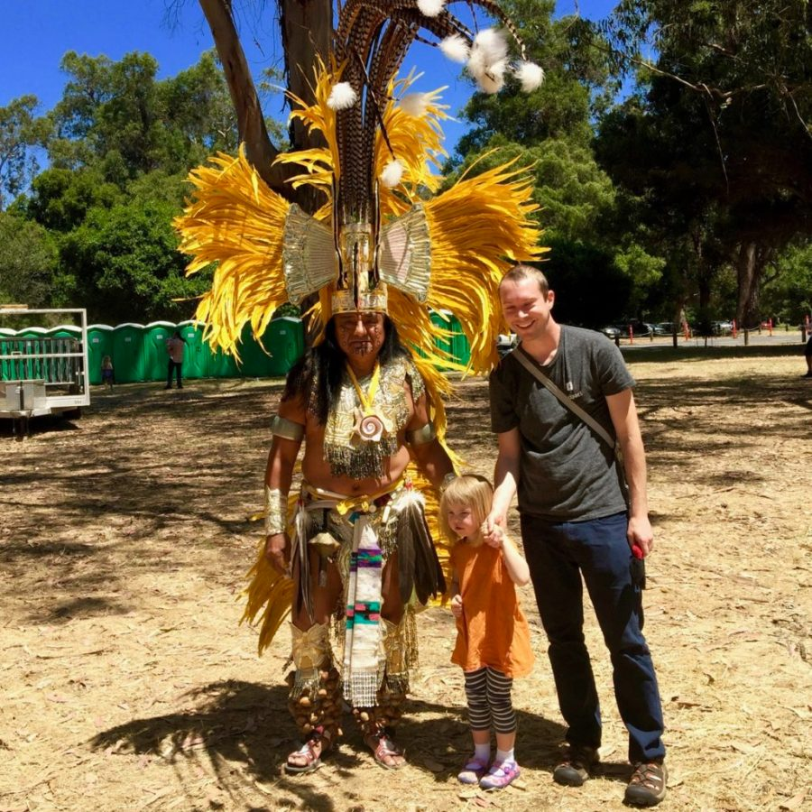 Posing with Chief at the Stanford Powwow