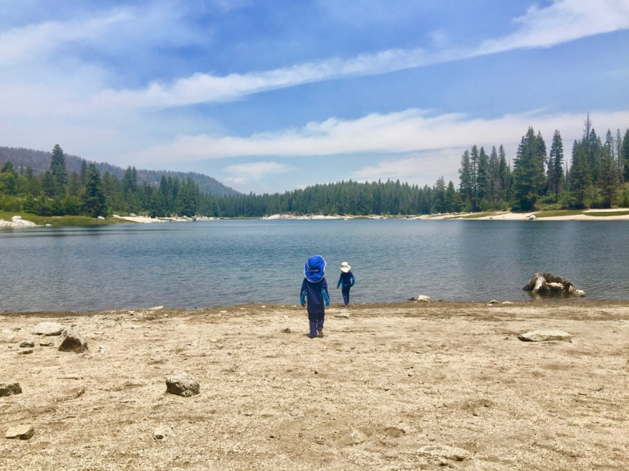 Kids on shore of Shaver Lake