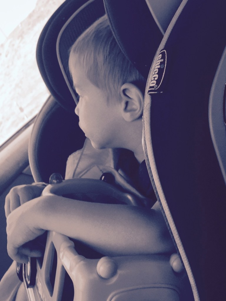 Toddler along for the ride on the family road trip